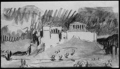 Le Corbusier, Sketch of Acropolis from his Trip, Le Voyage d'Orient, Athens. Le Corbusier, Illustration Sketches, Art Sketches, Illustrations, Parthenon Athens, Architecture Sketchbook, Hand Sketch, Drawing Practice, Art Of Living