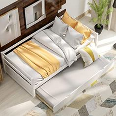 White Trundle Bed, Wooden Daybed With Trundle, Trundle Bed Frame, Twin Size Bed Frame, Wood Daybed, Trundle Daybed, Daybeds, Sofa Bed Frame, Daybed Design