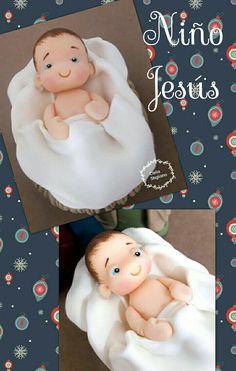 Polymer Clay Christmas, Clay Baby, Pasta Flexible, Christmas Nativity, Christmas 2017, Biscuit, Christmas Decorations, Teddy Bear, Baby Shower