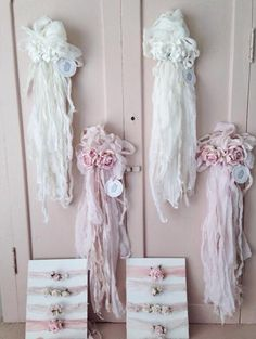 They are made to order, each shabby piece is unique and original. They are so beautiful and delicate. Perfect to hang around your home on chairs or knobs. This