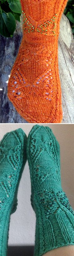 Free Knitting Pattern for Butterfly Socks - These socks feature butterfly motifs in lace, cables, and beads. Sizes Small, Medium, Large. Fingering weight yarn. Designed by Tuulia Äijö. Pictured projects by designer and pennymoney