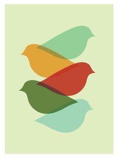 Mid Century Modern Bird Art Print/ Free Shipping/ by FatEyeDesign, $18.00
