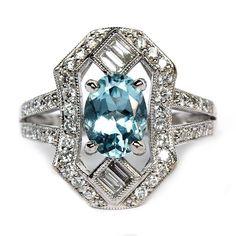 VIntage style 18K White Gold #Aquamarine and Diamond Ring $1989 #hudson_poole_jewelers