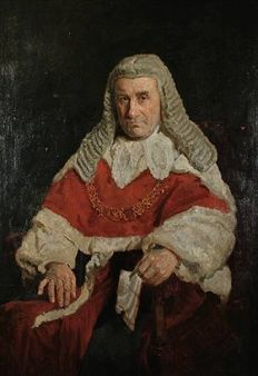 A three quarter length portrait of a seated red robed judge By Reginald G. Eves