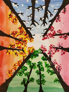 Winter Trees, Winter Art, Autumn Art, Arte Elemental, Classe D'art, Perspective Art, Colorful Paintings, Art Classroom, Art Club