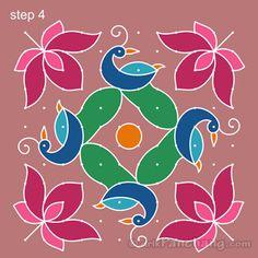 Peacock Rangoli Step 4