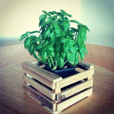Mini -cajas como las antiguas de fruta con múltiples usos. Uso nº 1 macetero Hecha con madera reciclada de palés #palés #madera #reciclada #pallets