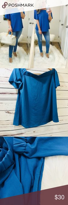 | NEW | off shoulder top pretty blue ... you'll look stunning in this gorgeous blue color & off the shoulder design. 🖤 This top is light weight & perfect for spring & summer. Features split back open design for added comfort & cute detail!   ➖ d e t a i l s  ➖  • 97% polyester & 3% spandex  • wear casually or dress up for date night  • length (s) 22 inches  • USA made • modeling small | true to size fit   information :   🔜 shipping 1 - 2 days  📷 all photographs mine 🏴 bundle/self check…