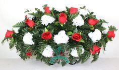 XL Beautiful Red Roses and White Carnations Cemetery Tombstone Saddle Arrangement by Crazyboutdeco on Etsy