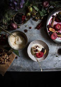 earl grey buttermilk ice cream with roasted fruit with honey glazed hazelnuts…