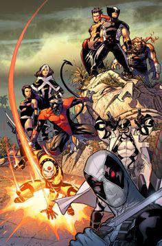 Uncanny X-Force and AoA X-Men team-up ~ art by Adam Kubert