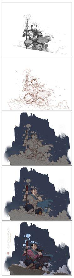 Small qi T7 collected a game character (2099 figure) _ petal illustration via cgpin.com