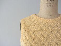 1960s knit dress . vintage 60s crochet dress . peach by BlueFennel, $44.00