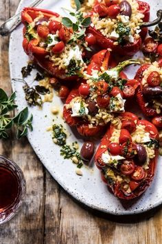 Greek Orzo Stuffed Red Peppers with Lemony Basil Tomatoes. -You can find Tomatoes and more on our website.Greek Orzo Stuffed Red Peppers with Lemony Basil Tomatoes. Veggie Recipes, Vegetarian Recipes, Dinner Recipes, Cooking Recipes, Healthy Recipes, Orzo Recipes, Greek Food Recipes, Dinner Ideas, Chicken Recipes
