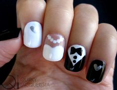 Blogger creates her own design for wedding nails. This simple design seems easy enough for DIY. We love the bride and groom styles on the middle two fingers.