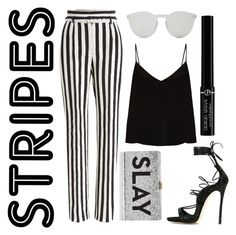 """""""Stripes"""" by tatianafeghali ❤ liked on Polyvore featuring Dsquared2, Dolce&Gabbana, Raey, Milly, Illesteva, Giorgio Armani, stripes and stripedpants"""