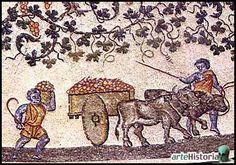 Carro agricolo a un asse con ruote piene carico di grappoli trainato da una coppia di buoi (IV sec. d.C.) - deambulatorio del Mausoleo di Costantina, Santa Costanza, Roma