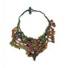 """JOYCE J. SCOTT VINES  Peyote-stitched glass beads, thread  6.5"""" x 6.5"""""""