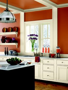 Orange Kitchen paint color scheme from Benjamin Moore. Orange Kitchen Walls, Paint For Kitchen Walls, Kitchen Paint Colors, Burnt Orange Kitchen, Warm Kitchen Colors, Paint Walls, Teal Kitchen, Kitchen White, Kitchen Living