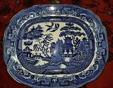 "Allertons Blue Willow Rectangle 9.5"" Serving Platter Antique Pottery England"