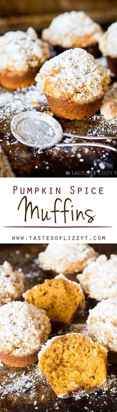PUMPKIN SPICE MUFFINS I on http://MyRecipeMagic.com. This pumpkin spice muffin is lightly spiced, soft and moist. The streusel and powdered sugar on top adds a hint of sweetness to each bite.