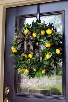 Front door wreath with Lemons, Lemon wreath, Front porch decor, Rustic Farmhouse Double Door lemon wreath, Primitive Country Decor - Double Door Wreaths, Summer Door Wreaths, Spring Wreaths, Summer Door Decorations, Summer Porch Decor, Wooden Front Doors, Front Door Decor, Front Porch, Lemon Wreath