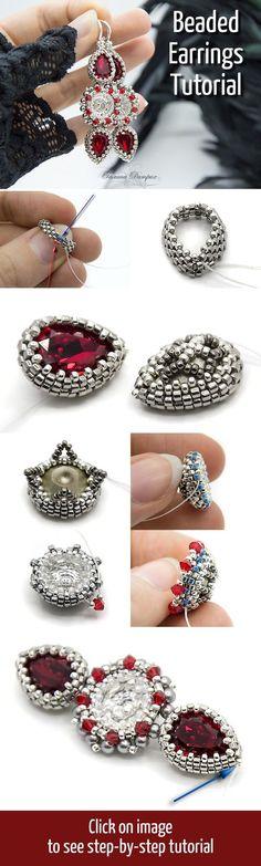 Diy Jewelry Ideas : Beaded Earrings Tutorial -Read More – Seed Bead Jewelry, Seed Bead Earrings, Beaded Earrings, Seed Beads, Diamond Earrings, Jewelry Crafts, Handmade Jewelry, Jewelry Ideas, Jewelry Kits