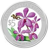 "Singapore Mint Aranda 'Noorah Alsagoff' 2010 ""Heritage Orchids of Singapore"" 20 gm silver coin"