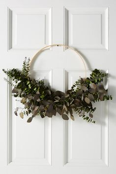 Dried Silver Dollar Eucalyptus Wreath by Anthropologie in Green, Decor Dried Eucalyptus, Eucalyptus Wreath, Holiday Wreaths, Holiday Ornaments, Christmas Decorations, Holiday Crafts, Zara Home, Navidad Natural, Wooden Hoop