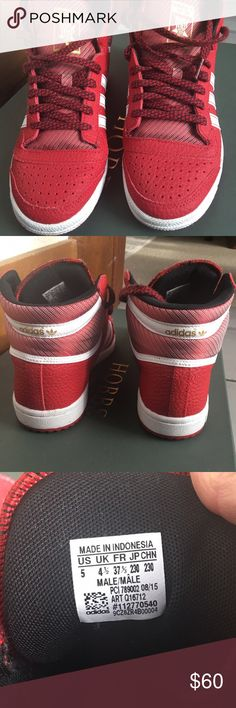 Adidas Top 10 high top sneakers. Men's 5= women 7 Adidas MENS SIZE 5 = Women's size 7. Like brand new. Maybe worn once. Not even creases. Red pretty. Awesome. Perfect. Buy. Adidas Shoes Sneakers
