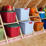 Shelving system that fits between the trusses in the attic.