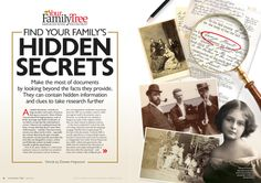 Find your Family's hidden secrets! Make the most of documents by looking beyond the facts they provide. They can contain hidden information and clues to take research further... #genealogy #familyhistory #yourfamilytree