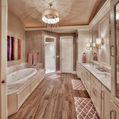 Master bathroom: hardwood floors, large tub, his and her sink - Luxury Interior Design Bathroom Flooring Options, Best Bathroom Flooring, Bathroom Hardwood Floor, Dream Bathrooms, Beautiful Bathrooms, Master Bathrooms, Small Bathrooms, Master Baths, Luxury Houses