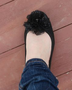 Add on flowers/pins to beat up ballet flats