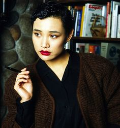 Joan Chen as Josie Packard in promotional pictures for the first season of Twin Peaks, 1990.