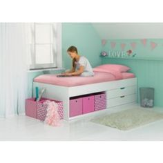 Buy Rudy White Storage Cabin Bed Frame At