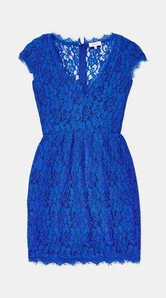 Short Blue Lace Dress W/ V-Neck.
