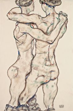 Naked Girls Embracing by Egon Schiele, 1914