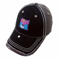 GIRLS ROCK Star Metal Black Gray and White Thick Stitch Distressed Baseball Cap