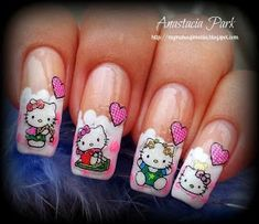 The cute Hello Kitty should be the most popular cat in the world. You can wear it on your clothes and accessories. Besides, it also looks very fantastic when painted on your nails. Spring Nail Trends, Spring Nails, Beautiful Nail Designs, Cute Nail Designs, Gorgeous Nails, Pretty Nails, Hello Kitty Nails, French Acrylic Nails, Kawaii Nails