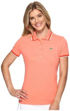 Lacoste SPORT Piped Stretch Petit Pique Golf Polo Shirt Women's Clothing