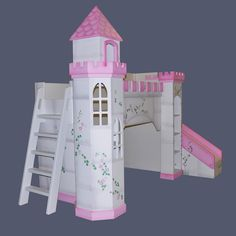 Castle Bunk Bed with slide - I'd love to build this for Mia! to get out of bed, you slide down the slide!!