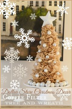 Super cute and easy coffee filter tree + wreath @ Stone Gable