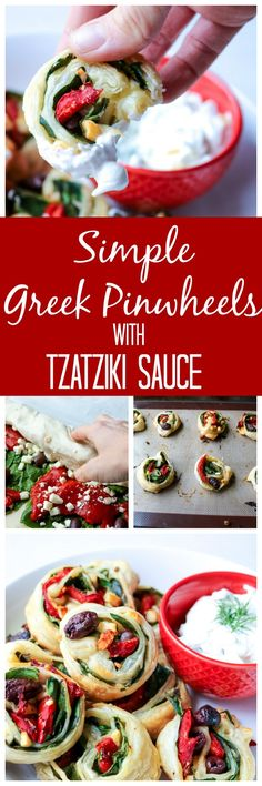 Simple Greek Pinwheels with Tzatziki Dipping Sauce: Spinach, roasted red peppers, olives, and feta are rolled up in buttery puff pastry and then served up with a Dill Tzatziki sauce. Finger Food Appetizers, Appetizers For Party, Appetizer Recipes, Snack Recipes, Party Dips, Breakfast Recipes, Greek Recipes, Real Food Recipes, Cooking Recipes
