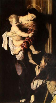 Arte,Pinturas,Blog do Mesquita,Michel angelo Merisi de Caravaggio,Madonna dei Pellegrini, 1604,Óleo sobre tela XI www.mesquita.blog.br www.facebook.com/mesquita/fanpage