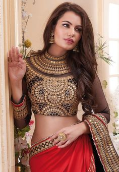 20 Gorgeous Pics of Red Saree Blouse Designs Lehenga Choli Online, Ghagra Choli, Indian Wedding Outfits, Indian Outfits, Wedding Dresses, Indian Attire, Indian Wear, India Fashion, Asian Fashion