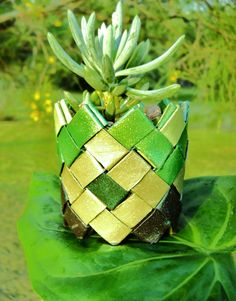 Green origami plant pot  shimmering diamond by ChickenJungle