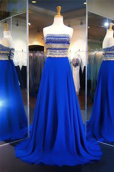Stunning A Line Strapless Long Royal Blue Chiffon Beaded Prom Dress