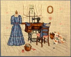 Cross Stitch Upstairs Sewing Room Paula Vaughan Leisure Arts Leaflet 474 Pattern booklet