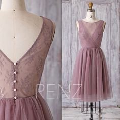 2016 Short Dusty Rose Bridesmaid Dress, A Line Wedding Dress, Mesh Flower Illusion Prom Dress, V Back Cocktail Dress Knee Length (HS163) by RenzRags on Etsy https://www.etsy.com/listing/275394482/2016-short-dusty-rose-bridesmaid-dress-a
